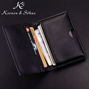 KS Black Genuine Leather Business ID Credit Name Card Holder Men's Bifold Wallet