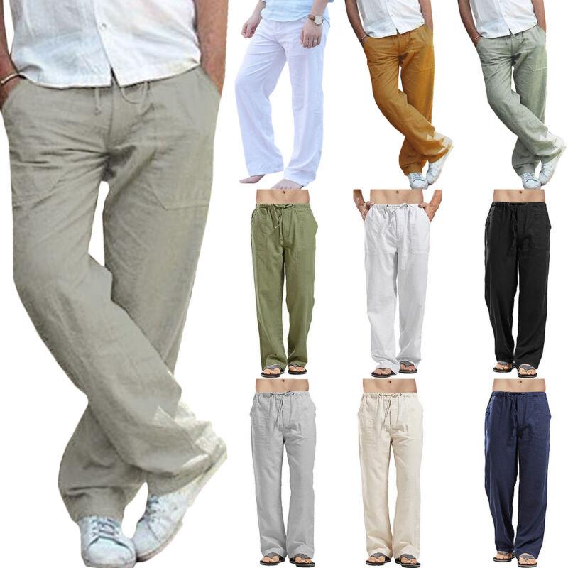Herren Leinenhose Straight Sommerhose Freizeithose Weites Bein Hose Stoffhosen M
