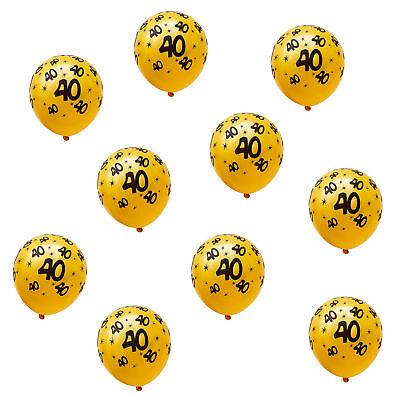 40 Geburtstag Ballons (10x Luftballons mit Zahl 40 für Geburtstag Jubiläum Hochzeitstag Ballons Gelb)