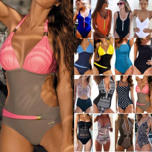 Damen Push Up Monokini Einteiler Badeanzug Bademode Schewimmanzug Bikini Tankini