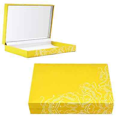 Jewelry Gift Box Hinged Gold Cardboard Metallic Silver Designs 6x 4 156-05