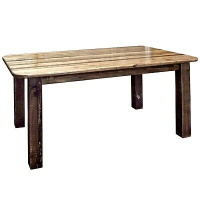 - Rustic Farmouse Dining Room Table Amish Made Rough Cut Wood Furniture 6 Ft Long