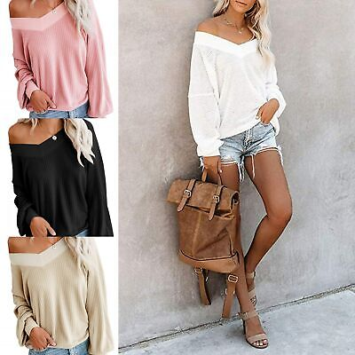 Women Sweater Loose Off Shoulder Waffle Knit Deep V Neck Sweater Sexy Casual