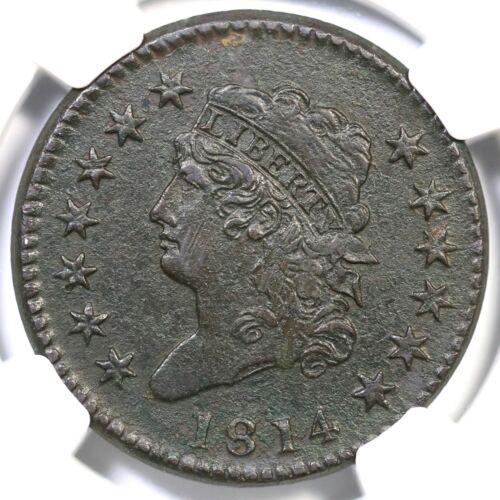 1814 S-294 NGC AU Details Crosslet 4 Classic Head Large Cent Coin 1c