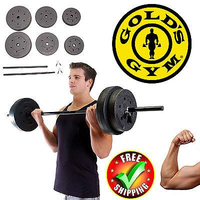 Gold Gym Weight Set 100Lbs Fitness Adjustable Workout Home Vinyl Bar Equipment