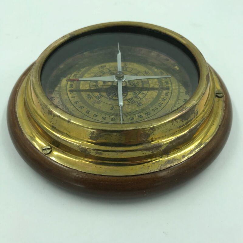 "Nautical 6"" Solid Brass Navigational Desktop Compass with Wood Base Captain"