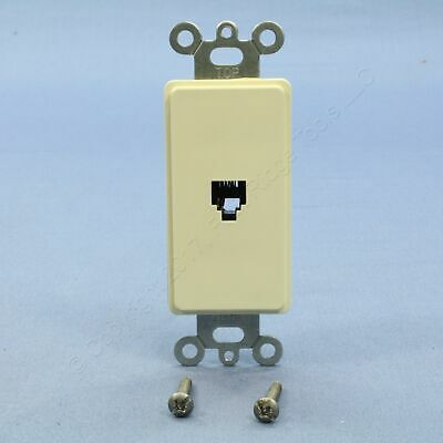 New Leviton Almond Decora Phone Jack Telephone Wall Plate 6P4C Type 625 40649-A