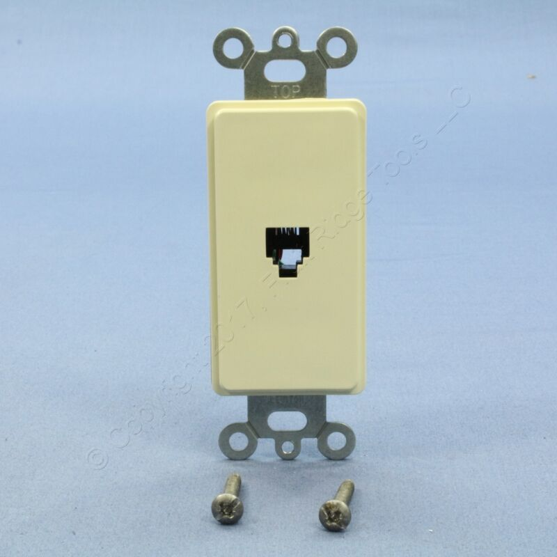New Leviton Almond Decora Phone Jack Telephone Wall Plate 6P4C Type 625 40649-A