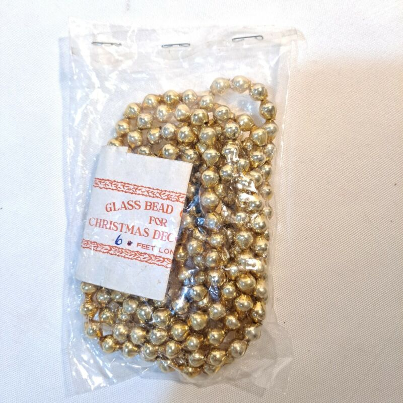 Vintage Christmas Tree Mercury Glass Beads Gold 6 Ft Made in Japan New Old Stock