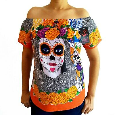 Cotton Blouse Day of the Dead Halloween Coco Catrina Dia de Muertos Mexican Plus - Halloween Catrina