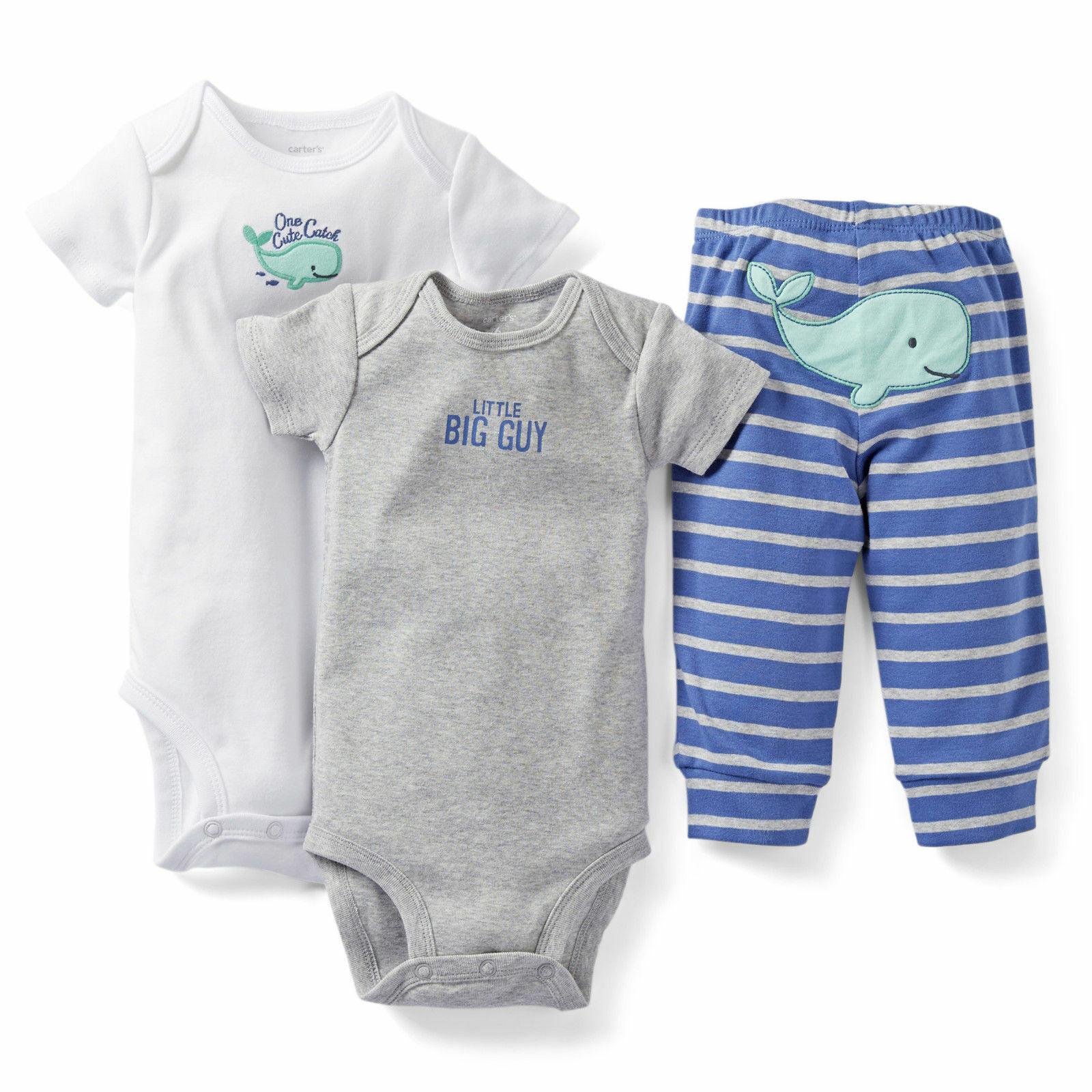 CARTER'S BABY BOY 3PC LITTLE BIG GUY /WHALE BODYSUITS PANT SET 6M 9M CLOTHES