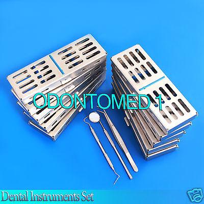10 Dental Sterilization Cassette Box Tray For 5 Instrument Free Tarter Set
