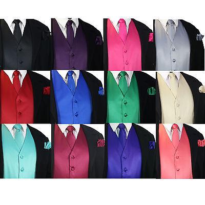 - SOLID Men's Dress Vest & Neck Tie Hankie Set For Suit or Tuxedo Formal Wedding