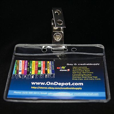 10 Clear Vinyl Id Badge Holders 10 Badge Clips - On Sale