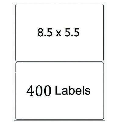 400 Half Sheet Shipping Labels 8.5x5.5 Self Adhesive Round Corner Mailing Labels