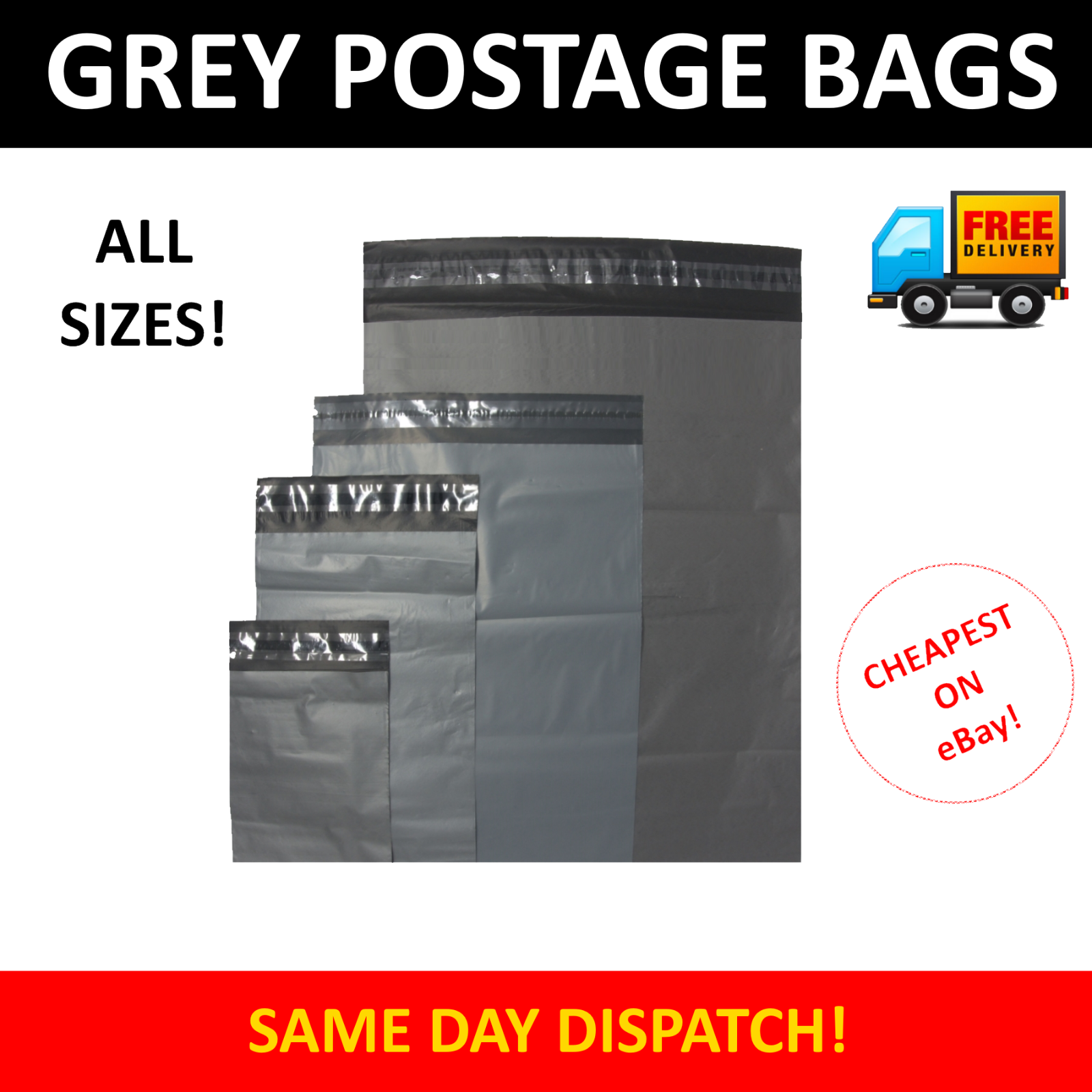 Strong Grey Plastic Mailing Postage Bags Self Seal Post Mail Sacks Lot ALL SIZES