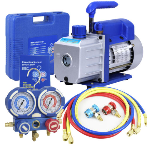 Combo 4 CFM 1/3HP Air Vacuum Pump HVAC + R134A Kit AC A/C Manifold Gauge Set Business & Industrial