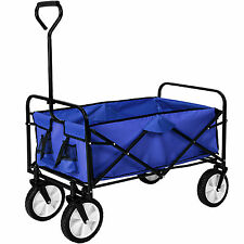 Chariot à main de transport remorque chariot de jardin pliable offroad bleu