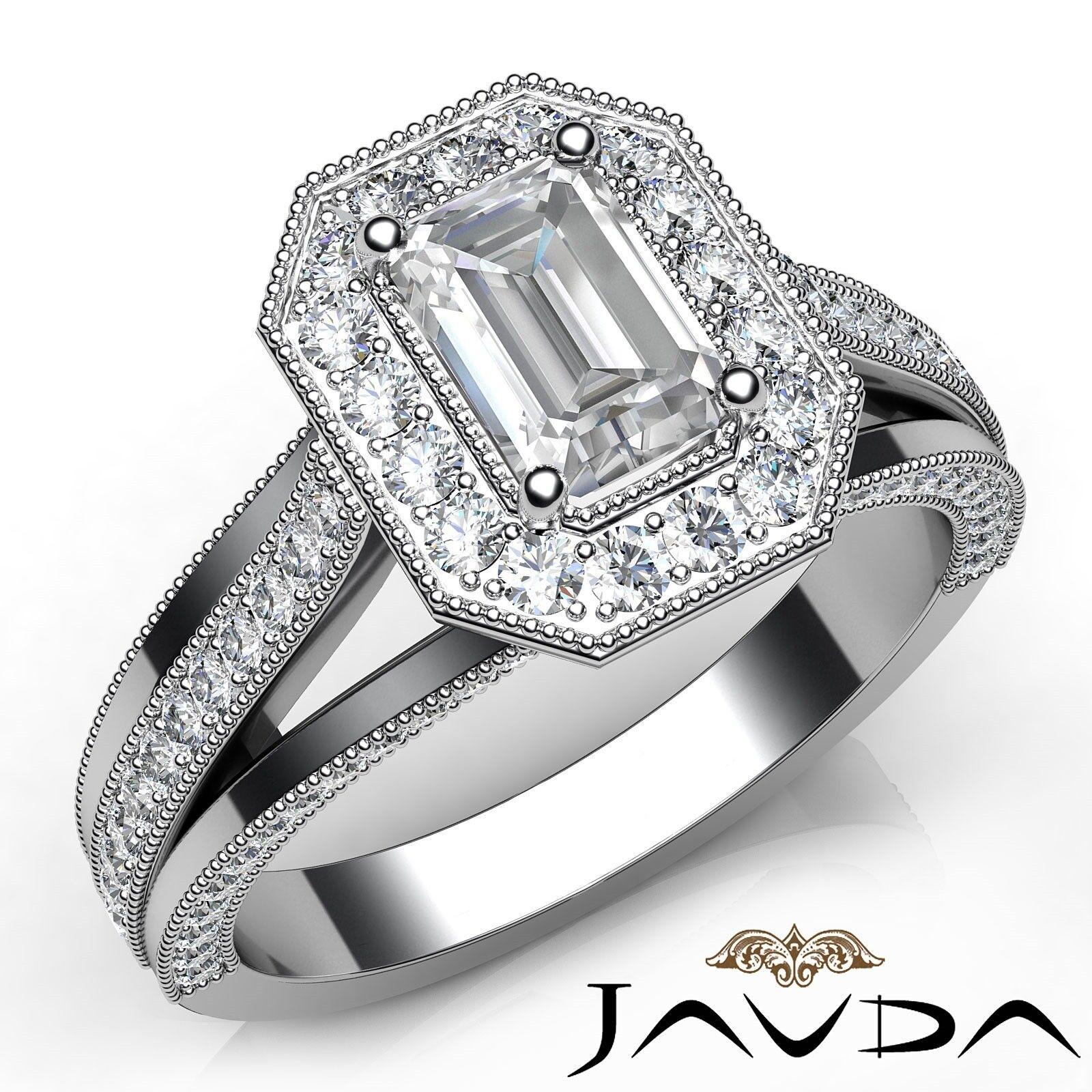 1.63ctw Milgrain Side-Stone Emerald Diamond Engagement Ring GIA H-SI1 White Gold