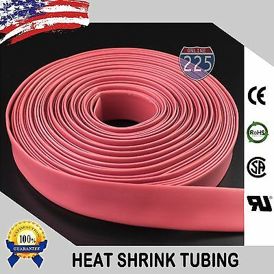 25 Ft. 25 Feet Red 38 9mm Polyolefin 21 Heat Shrink Tubing Tube Cable Us Ul