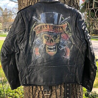 GUNS N ROSES PAINTED VINTAGE LEATHER MOTORCYCLE JACKET MENS SIZE SMALL