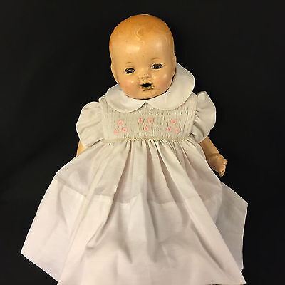 Antique Hendren Baby Doll 1910s Large 21 In Repair Ready Composition Sleep Eyes