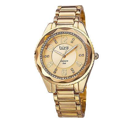 Women's Burgi BUR132YG Coin Edged Crystal Bezel Sunburst Diamond Dial Glam Watch