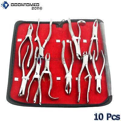 10 Extracting Forceps Kit Dental Surgical Instruments