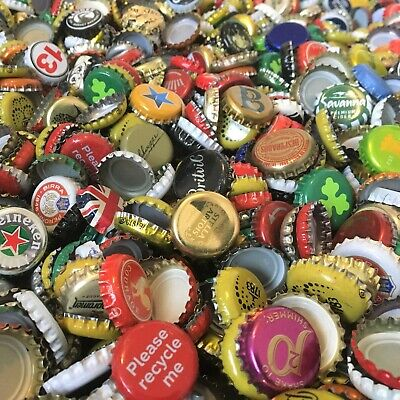 100 random bottle caps crowns tops, world beers and soft drinks, good condition