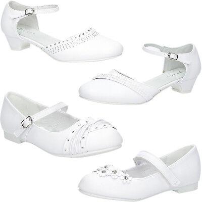 Mädchen Halbschuhe American Hochzeit Kommunion Party Elegant Weiß Gr. 27-38 NEU (Kommunion Schuhe Mädchen)