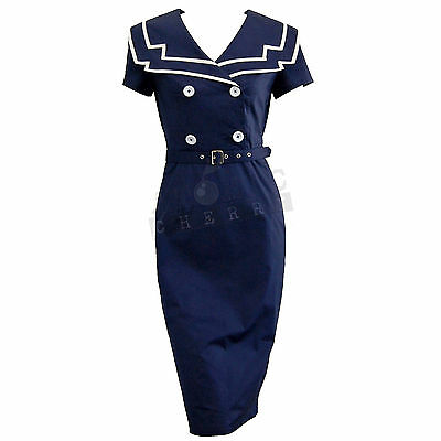 Chic Star Sailor Pencil Dress Rockabilly Pin Up Costume Retro Vintage Cotton