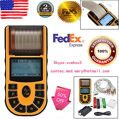 Us Fedex Portable Ecg Ekg Machine Single Channel Electrocardiograph 12 Leads Fda