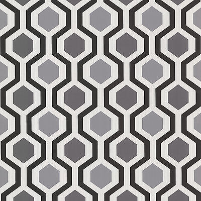 WALLPAPER BY THE YARD 347-20133 Marina Contemporary Geometric Black and White -