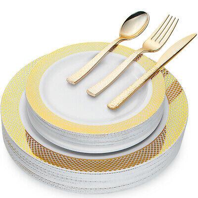 Elegant Disposable Plastic GOLD Dinnerware for Weddings, Parties, any (Elegant Plastic Dinnerware)