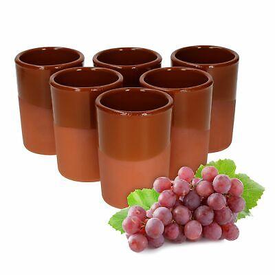 6er-Set Tonbecher 250 ml teilglasiert braun Honigwein Metbecher Wikinger Becher