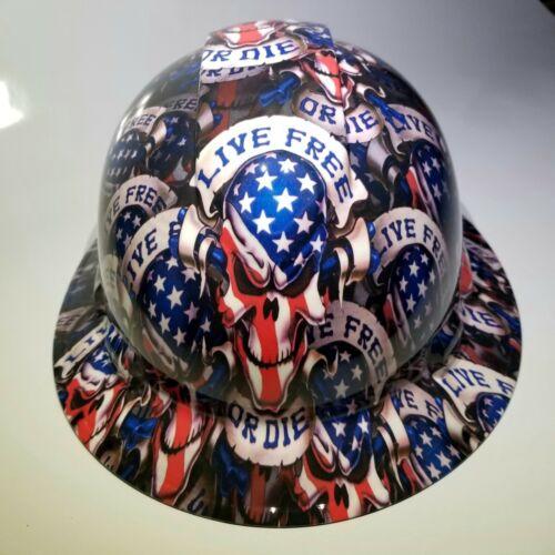 NEW FULL BRIM Hard Hat custom hydro dipped LIVE FREE OR DIE USA AMERICA sick