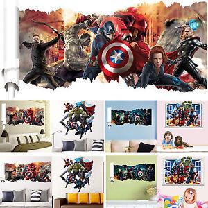 3d Avengers Superhero Vinyl Diy Wall Sticker Mural Decal Home Bedroom Art Decor Ebay