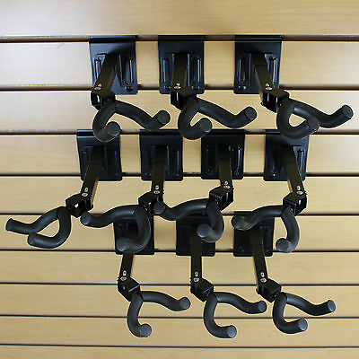 Set Of 10 Guitar Hanger Slatwall Black Steel Foam 3 Oc Adjustable 270 Spacing