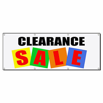 Clearance Sale Business Sign Banner 4 Feet X 2 Feet W 4 Grommets