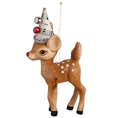 Bethany Lowe Music Deer Reindeer Christmas Tree Ornament Retro Vntg Style Decor