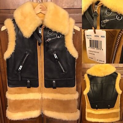 Coach Women XXS Shearling Leather Moto Biker Sheepskin Vest Italy Made $1,295
