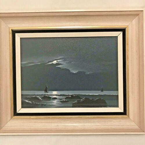 Original Framed Art Oil Painting Night Sky With Sailboats Signed David James