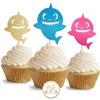 Baby Shark cupcake toppers glitter cake topper - PACK OF 12 shark decor party ()