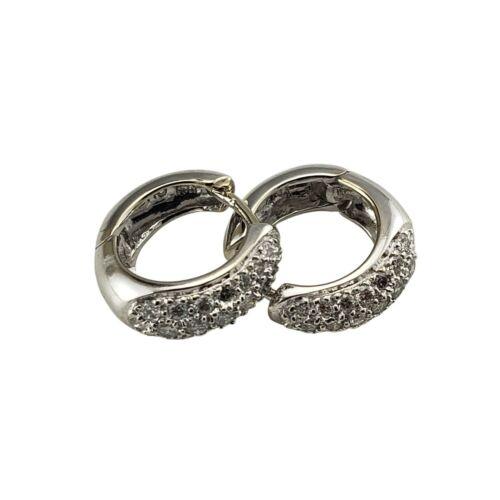 Vintage 14 Karat White Gold and Diamond Hoop Earrings #9912