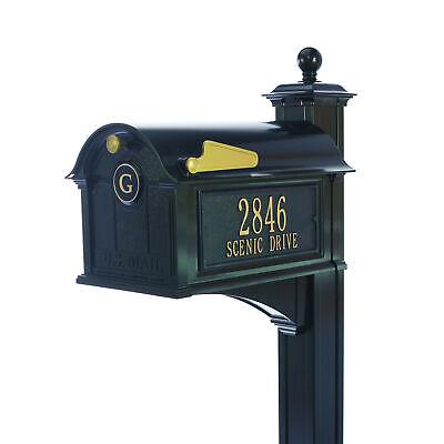 Black Balmoral Streetside Monogram Mailbox & Post Package w/ -