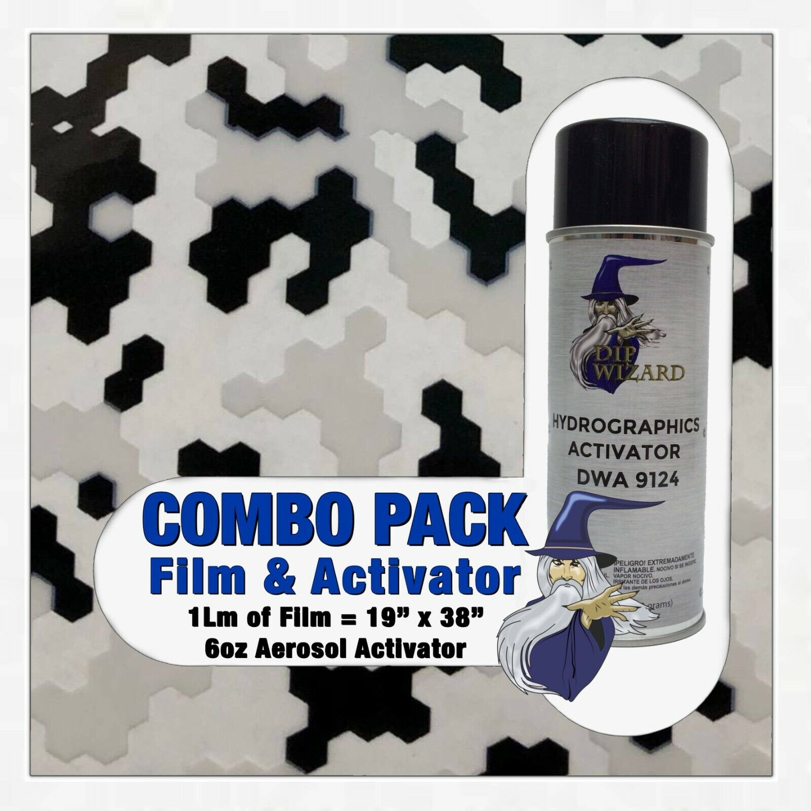 Hydrographic Film / Activator Black White Clear Pixels Hydro Dip Dipping Wizard - $23.99