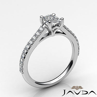French V Pave Women's Cushion Diamond Engagement Cathedral Ring GIA G VS1 0.75Ct 1