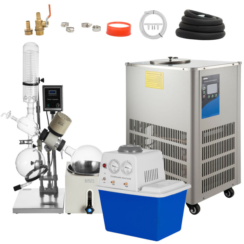 5L Rotary Evaporator Complete Turnkey Package w/Water Vacuum Pump & Chiller