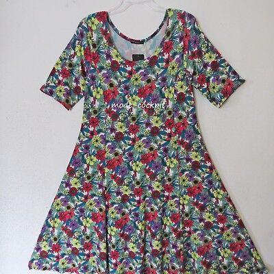 NEW JERSEY Lagenlook Shirt Tunika-Kleid A-Linie flower-print rot-grün 44-46 XL Flower Jersey Kleid