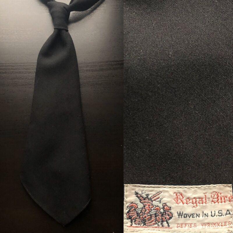 Regal 'Regal-Aire' Black Wool Tie EUC VTG 1940s NOS Bold Look Swing Dance Trad